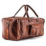 A.P. Donovan - Herren-Reisetasche braun | Duffle-Bag aus Leder mit viel Platz (Kurzurlaub) | Weekender | Große Fitnesstasche Sporttasche