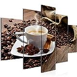 Bilder Küche Kaffee Wandbild 150 x 100 cm Vlies - Leinwand Bild XXL Format Wandbilder Wohnzimmer Wohnung Deko Kunstdrucke Braun 5 Teilig - MADE IN GERMANY - Fertig zum Aufhängen 501853a