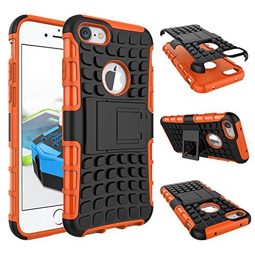 MOONCASE iPhone 7 Coque, 2 en 1 Combo Housse Hybride Etui Robuste Protection de Double Couche d'Armure Lourde Case avec Béquille pour Apple iPhone 7 Violet Orange