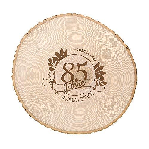 Casa Vivente Große Baumscheibe mit Gravur zum Jubiläum – Personalisiert – Türschild aus Echtholz – Wanddekoration – Parent
