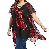 VEMOW Sommer Elegante Damen Frauen Plus Größe Criss Cross Doppel Chiffon Print Kurzarm Party Daily Dance Shirt Pullover Tops Bluse Tees(Rot, EU-56/CN-4XL)