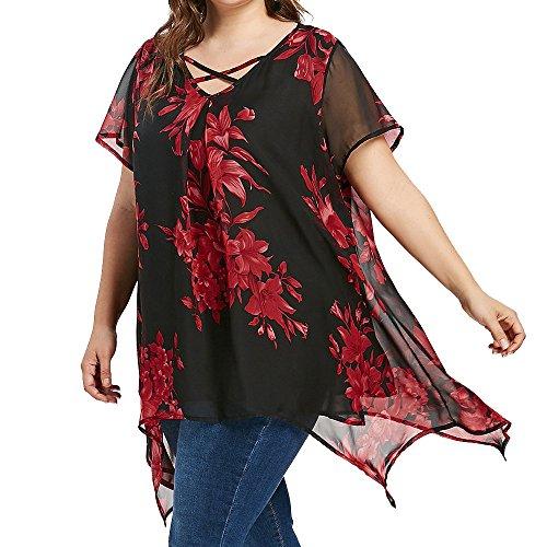VEMOW Sommer Elegante Damen Frauen Plus Größe Criss Cross Doppel Chiffon Print Kurzarm Party Daily Dance Shirt Pullover Tops Bluse Tees(Rot, EU-54/CN-3XL) Womens 12 Harness Boot