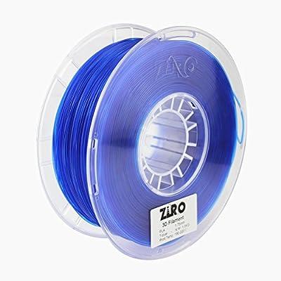 ZIRO 3D Printer Filament PLA 1.75 1KG(2.2lbs), Dimensional Accuracy +/- 0.05mm, Translucent blue