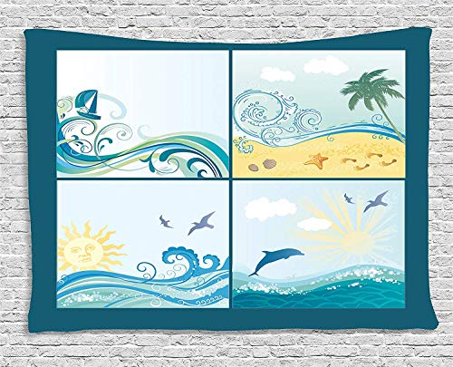 VTXWL Beach Tapestry, Maritime Themed Frames with Waves Sun Trees Dolphins Birds Exotic Sea Pattern, Wall Hanging for Bedroom Living Room Dorm, 80 W X 60 L Inches, Blue Beige Green