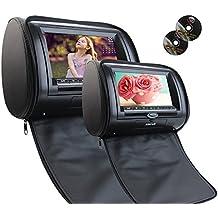 Eincar 7''Dual poggiatesta lettore DVD Wide View Screen LCD HD 800 * 480 Risoluzione auto poggiatesta DVD monitor del cuoio sintetico di sostegno del monitor dell'automobile del USB di deviazione standard IR FM Remote Control (nero)