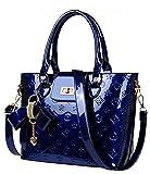 Oruil Mode-Handtasche mit Blumen-Design Handtasche Charme und Metall-Verschluss PU-Leder-Handtasche für Frauen (Blau)