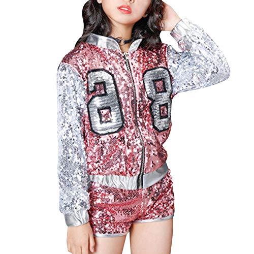 Huatime Tanzsport Bekleidung Mädchen Kleider - Kinder Erwachsene Tanzen Hip Hop Modern Kostüme Pailletten Anzüge Mode Sets Weste + Shorts Mantel ()
