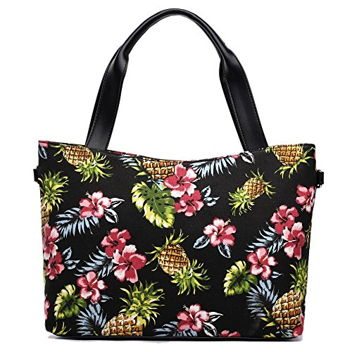 Miss Lulu , Damen Tote-Tasche - Canvas Pineapple Tote Black