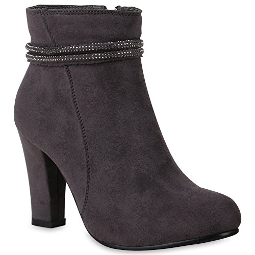 Stiefelparadies Damen Ankle Boots Gefütterte High Heels Stiefeletten  Stiletto Strass Zipper Veloursleder-Optik Schuhe Fransen