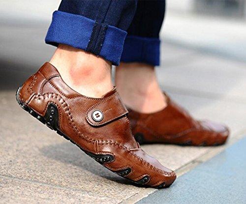 Hommes Casual Hommes Casual Chaussures en cuir mocassins plats légers chaussures de conduite ( Color : Black-46 ) Brown-41
