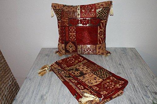Züleyha housse de coussin taie d'oreiller oriental Oreiller coussins de siège 45x45 cm bordeaux-beige
