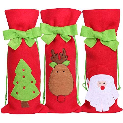Trixes 3er-Set Weihnachts Wein Geschenktaschen Festliche Geschenkbeutel aus grünem Filz mit weihnachtlichen Motiven Santa Weihnachtsbaum und Rentier