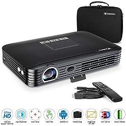 """Tenswall Mini DLP Projektor 1080P Beamer Tragbarer 3D Videoprojektor (Unterstützung 4K) Android6.0/Kontrast2000:1/ 600ANSI Lumens/300""""Projektionsgröße/7800mAh Battery Kompatibel mit Fire TV Stick ..."""