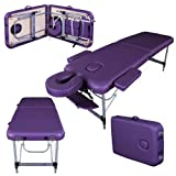Massage Imperial® Ultra Lightweight Purple Professional Knightsbridge Aluminium 10Kg 2-Ssection Portable Massage Table Couch Bed Spa With 5cm/2