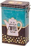 Quality Hochwertige Kaffeedose, Vintage-Design, rechteckig, Hermetisch versiegelt, goldfarben, aquamarinbraun