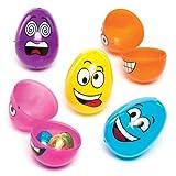 Baker Ross Huevos de Pascua de Plástico con Caritas Divertidas. Perfectos como Relleno de Piñata Premios y Regalos de Fiestas Infantiles (Pack DE 12)