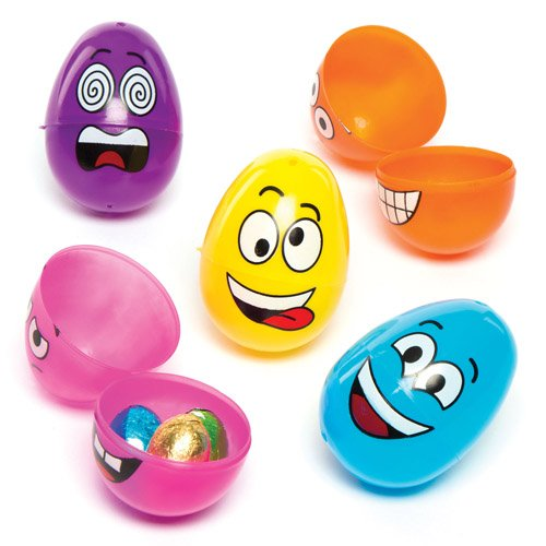 Cheap easter eggs amazon funky face plastic eggs toy set for children easter egg hunt spring party bag filler or gift for kids pack of 12 negle Choice Image