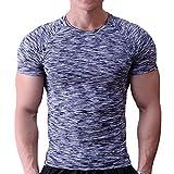 Musclealive Uomo Magro Stretto Compressione Livello Base Manica Corta Maglietta Bodybuilding Top Poliestere e Spandex