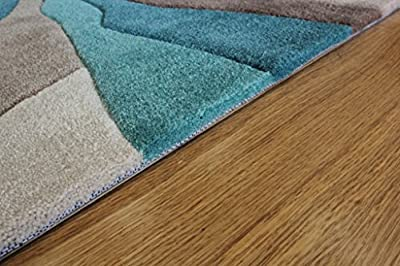Teal & Beige Wave Design High End Quality Modern Living Area Mats 3 Sizes- Banbury produced by The Rug House - quick delivery from UK.
