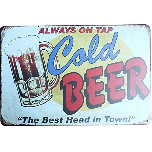 Kentop Blechschild Metallschild Eis-Bier Werbung schild Wandschild Vintage Wanddekoration für bar, Esszimmer, Billard-Haus, Hotel, Club -