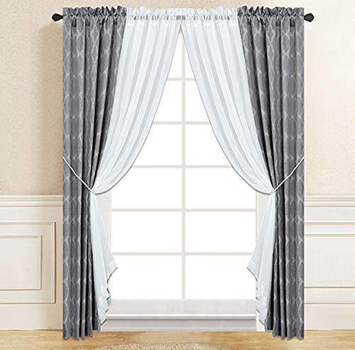 Mk Home #149 Vorhang-Set, Kunstseide und durchscheinende Stangen, für Wohnzimmer/Schlafzimmer, Hellgrau, 6 Stück - 6 Stück Schlafzimmer Set