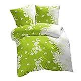 etérea Mikrofaser Bettwäsche Kimi Blumen Grün Palm Weiß in der Größe 135x200 + 80x80 cm