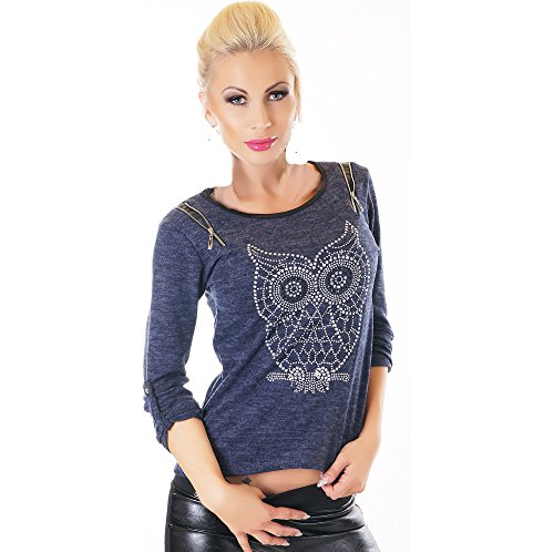 Sweatshirt Turn-up (WeaModa Damen Langarm Sweatshirt Jersey Pulli Longsleeve Shirt-Tunika Bluse mit Turn-Up-Ärmel Strass Eule Owl 34/36/38 (Einheitsgröße) Dunkelblau)