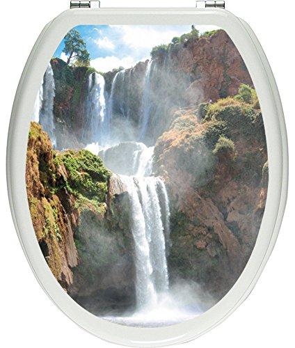 Pixxprint 3D_WCs_2536_32x40 Spektakulärer Wasserfall als Toilettendeckel Aufkleber, WC, Klodeckel, gläzendes Material, bunt, 40 x 32 cm