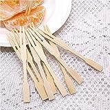 Tenedores de bambú NANHAI, tenedores de mini fiestas, banquetes, bufets, comidas y la vida cotidiana. Dos Patas: Aperitivo, Cócteles, Frutas, Pasteles, Palillos De Postres.