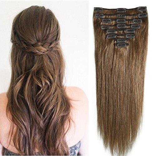 8pz 18clips parrucca lisci lunghi extension clips capelli veri full head resistente al calore castano