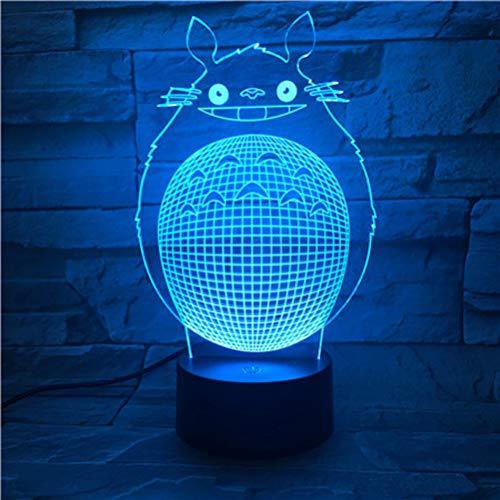 Mi vecino Totoro 3D Vision - Lámpara de mesa decorativa con degradado de colores, LED Atmosphere