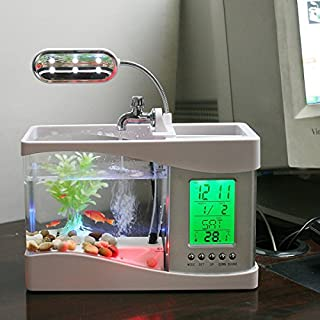 Anself Mini USB LCD Desktop Lamp Fish Tank Aquarium LED Clock with 6 Modes of Tranquil Nature Sounds, Fish Tank Ornaments, White