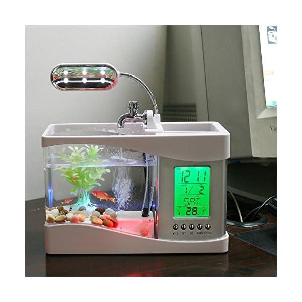 Anself Mini USB LCD Desktop Lamp Light Fish Tank Aquarium LED Clock with 6 modes of tranquil nature sounds, fish tank ornaments. (Black)