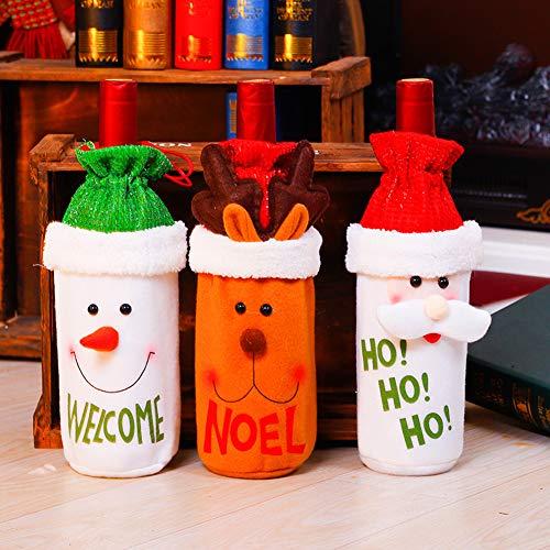 SKY TEARS Natale Copertura della Bottiglia di Vino Sacchetti Regalo Coulisse Sacchetto Babbo Bottiglia Covers Borse Dinner Table della Decorazione per La Decorazione del Partito