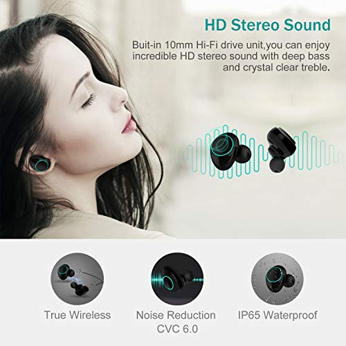 Arbily Mini Bluetooth Kopfhörer Kabellos In Ear True Wireless Earbuds mit Portable Mini Ladebox,Bluetooth 5.0 Stereo Headset Sport Ohrhörer,Noise Cancelling Kopfhörer mit Mikrofon für Männer Frauen - 5
