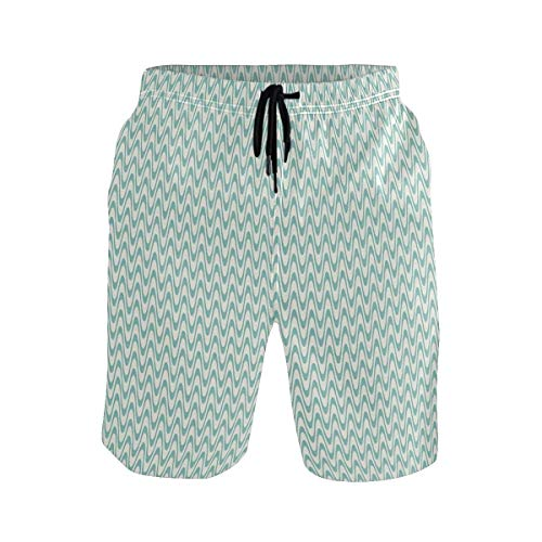 Preisvergleich Produktbild Men's Summer ShortsWavy Crystal Sea and Sky with Clouds at The Sandy Bea, Shorts Size M
