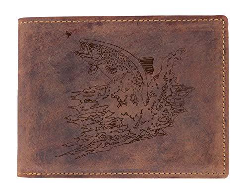 Greenburry Geldbeutel mit Fisch Motiv I Leder-Portemonnaie mit Forelle Motiv I Geschenk für Fischer