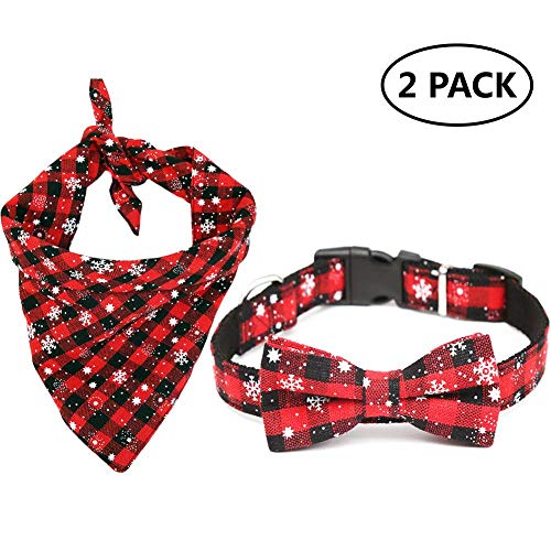 H.Yue Christmas Dog Bandana,Dog Kerchief Set,Reversible Triangle Bibs Scarf Accessories for Dogs Cats Pets Animals (I 2 ()