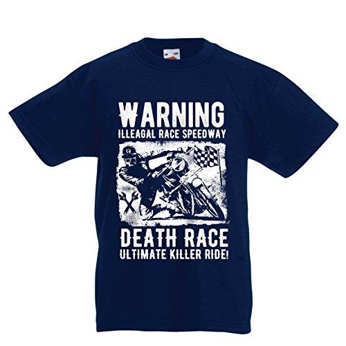 lepni.me Kinder Jungen/Mädchen T-Shirt Todesrennen - ultimative Killerfahrt, Motorradrennen, Klassiker, Vintage, Retro-Schädel-Biker, Motorrad (14-15 Years Dunkelblau Mehrfarben)