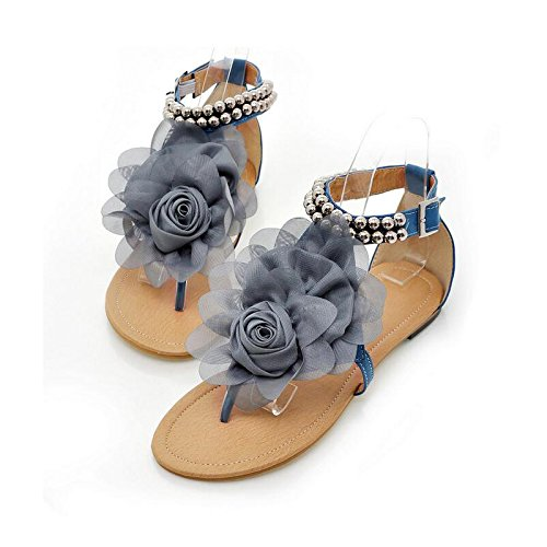 Junsi Summer Casual Style Lace Flower Beads Flats Women Sandals Clip-toe Shoes Chaussures Comfort Design Peep Toe Sandales blue