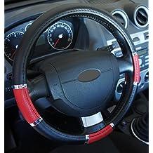 "'Excelente calidad,' universal Volante sintética negro rojo cromo para coche anti tobogán diámetro 37–39cm + 1Adhesivo de PC ""rodillos coche Europa gratis"