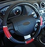 'Ausgezeichnete Qualität' Universal Lenkradbezug Leder schwarz rot chrom für Auto Anti rutsche Durchmesser 37–39cm + 1Wandtattoo PC