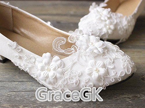 Jingxinstore White Lace Wedding Flowers Zapatos De Novia Blanco