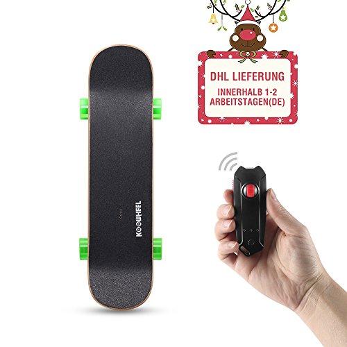 Komplett 28 Skateboard (KOOWHEEL Elektro Skateboard Bürstenlosen Dual Radnabenmotoren Geschwindigkeit 30Km/h mit 4300mAh Akku, Reichweite 25-30 km 7 Schichten Kanada Ahornholz 4 Räder Komplett Board,Grün)