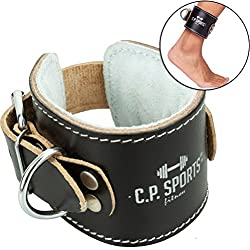 CP Sports foot strap leather for cable pull padded natural, brown, black, pulling aids, cable pulling tower, multi-gym, cable pulling tower, fitness (black)