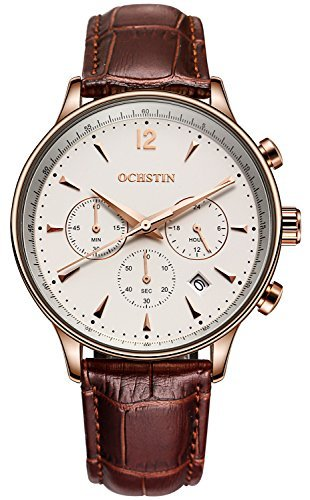 PASOY Aviator Mens Chronograph Watch Date 24/Hours Function Leather Band Gold Stainless Steel Watches