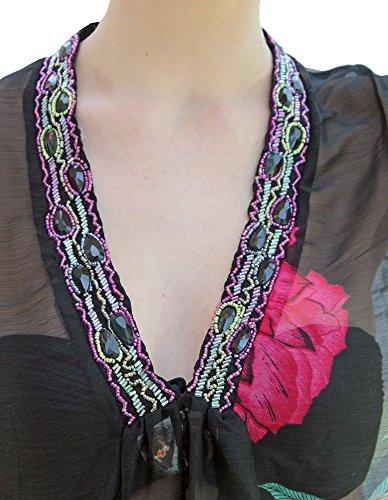 Damen Mohnblumen Abdeckung Oben Sommer Chiffonkleid Damen Blumen Kaftan Boutique Schwarz