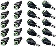 10 ذكر 10 انثى 2.1 / 5.5 ملم كابل مقبس الطاقة، محول قابس الصمام شريط كاميرا سي سي تي في استخدام 12 فولت