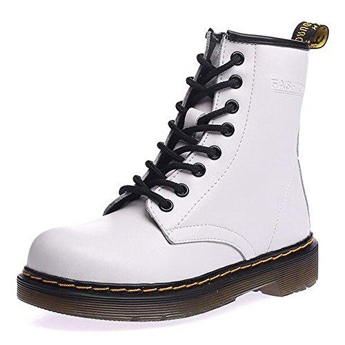 SITAILE Uomo Donna Inverno Pelliccia Neve Stivali Snow Boots caldo Stivali Cavaliere Martin Stivaletti Stringati,bianca,37