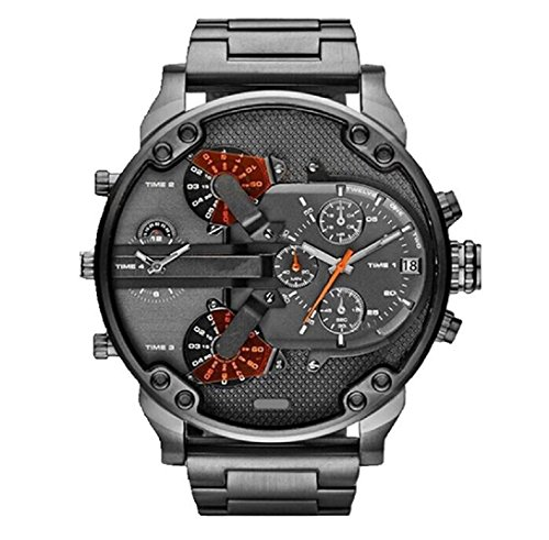 Amcool Herren Armbanduhr,Luxus Multifunktions Uhr-Edelstahl Sport Analog Uhr
